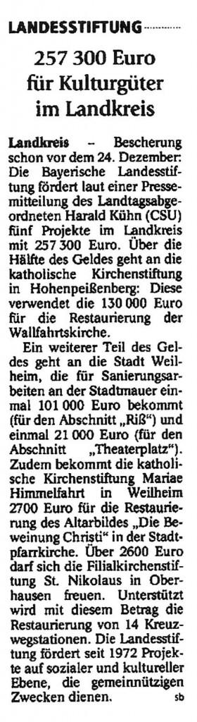 Weilheimer Tagblatt 12.12.2014