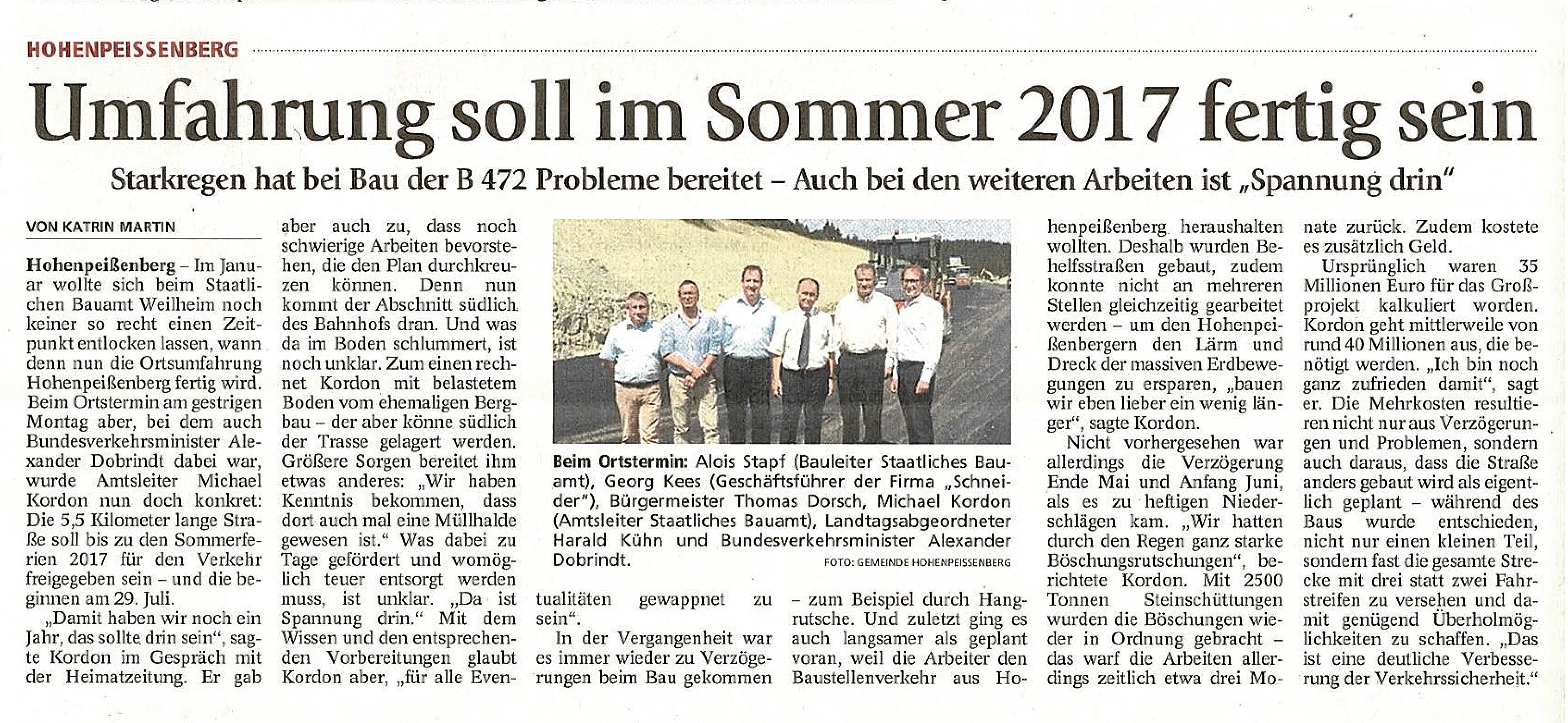 Weilheimer Tagblatt 12. Juli 2016