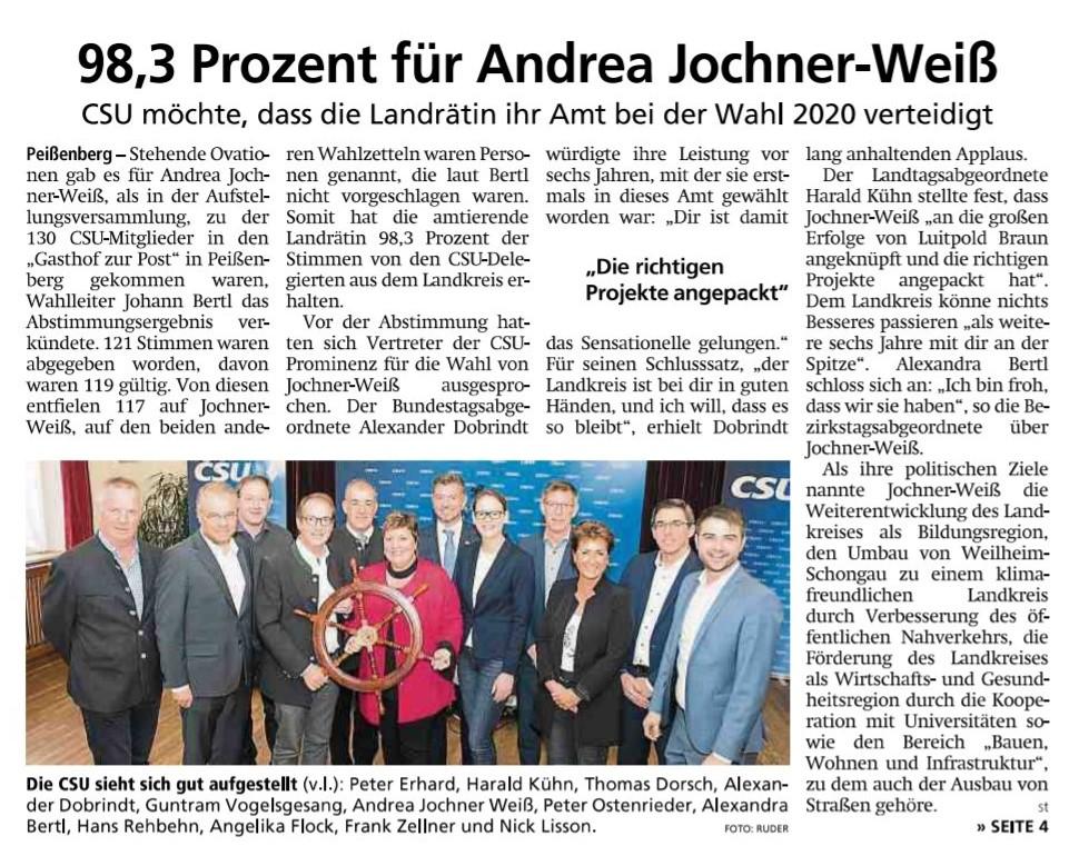 Weilheimer Tagblatt, 18.11.2019