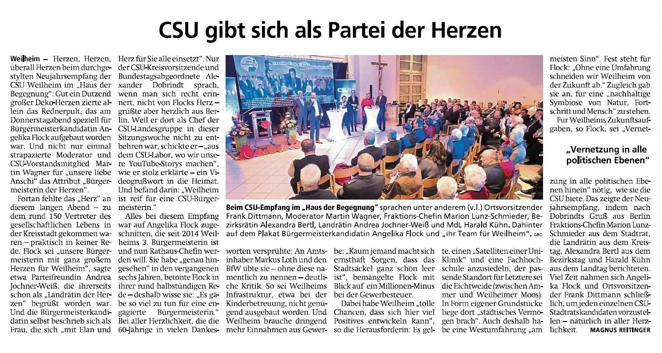 Weilheimer Tagblatt, 18.01.2020